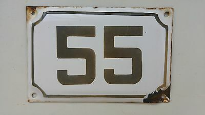 vintage ISRAELI enamel porcelain number 55 house sign # 55 CHRISTMAS SALE ! 4