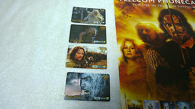 LOTR Lord of the Rings Phonecard Lot of 4 New Zealand Foreign + Store Poster 2