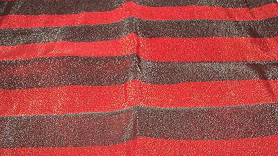 NIGERIAN Aso Oke Gele (Headtie) Red & Black Stripes with Stones - 1 Piece 2