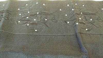 NIGERIAN Aso Oke Gele (Headtie) Black with Embroidery & Stones - 1 Piece 2