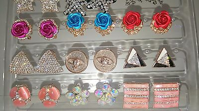 Joblot of 18Pairs Mixed Design Sparkly Diamante stud Earrings-NEW Wholesale lot3 3