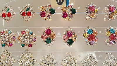 Job lot 18 Pairs Mixed Design Sparkly Diamante stud Earrings NEW Wholesale lot 1 2