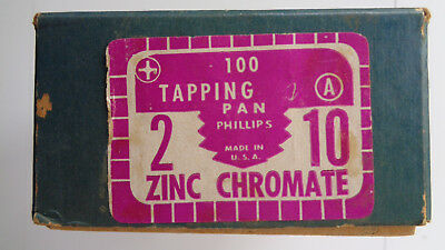 """Vintage 2"""" Pan Head Phillips ZINC Chromate Tapping Screws No. 10 A, over 100 3"""