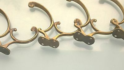 "4 COAT HOOKS CURVED door solid heavy solid brass furniture age old style 4"" B 4"