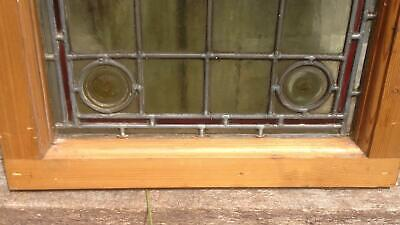 Architectural Antique Victorian Arts & Crafts Bullseye Leaded Glass Window Frame 12