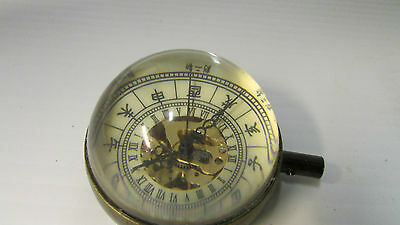 Antique Oriental Brass and Magnifying Dome Shaped Glass Paper Weight Clock 2