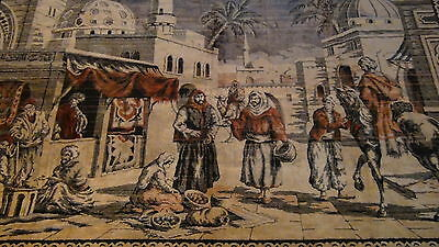 "Antique Persian Islamic Silk Rug Street Market Scene 49"" X 77"" 2"