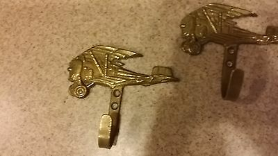 "Vintage THREE Brass Hooks shaped as Bi-Plane- 3-1/2"" wide - Decorator pieces 4"