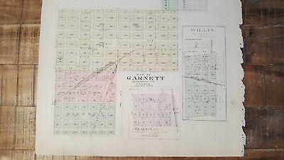 Antigüedad Mapa - Garnett,Reserva,Willis,Hamlin & Robinson - 1887 Kansas Atlas 3