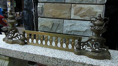 Pair Antique 18C French Brass Ormolu Andirons And Greed Between 2