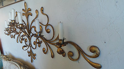 Antique Original Gilded Gold & Metal  Wall Sconce Candle Holders 10