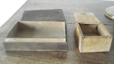 3 boites anciennes bois Le Galvanic Solere + encrier fonte+ pots loft usine déco 8