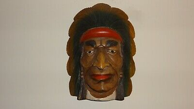 Vintage Xl Native American Indian Chief Solid Wooden Hand Carved Wall Hanging! 2
