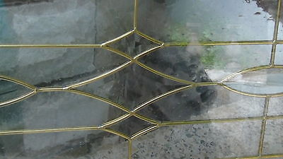 "Beveled  Leaded Glass  Brass Gold Or Silver Patina  Arch 63""l Window Transom 5"