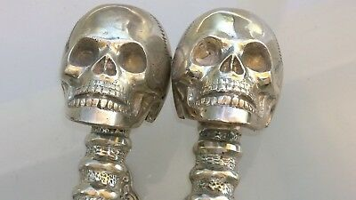 2 large SKULL head handle DOOR PULL spine SILVER BRASS old vintage style 33 cm B 4