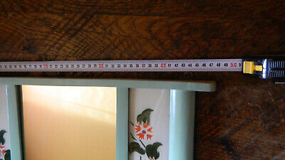 Antique Primitive Old Hand Painted Wooden Wall Hanging Mirror Rustic Style 8