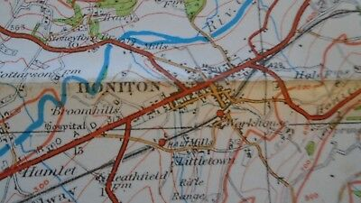 "Ordnance Survey map 1"" Lyme Regis Sidmouth 1932 Bridport Axminster Ottery Beer 7"