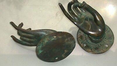 2 small Pull handle hands buddha brass green door aged style knob hook 6.5cm B 4