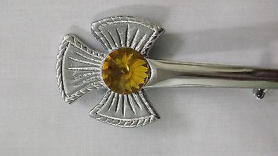 Men's Scottish Thistle Kilt Pin Yellow Stone/Thistle Flower Emblem Kilt Pins