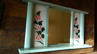 Antique Primitive Old Hand Painted Wooden Wall Hanging Mirror Rustic Style 4