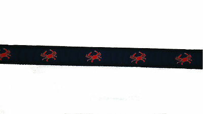 Moonshine BEER CRAB Embroidered Leather Canvas Nautical Ribbon Belt NWT pic size