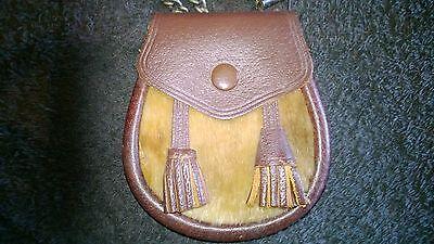 Scottish Leather Cow Hide Pouch/Sporran Money purse chained strap 7