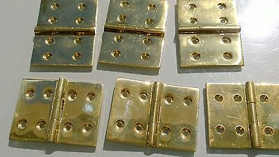 "6 small cast polished hinges vintage style solid Brass DOOR BOX heavy 2"" screws 2"