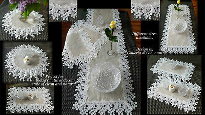 Doily 16 inch Flower Lace  Neutral Burlap Natural Floral Daisy 4