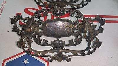 "5 Ornate Antique Vintage Large Cast Brass Dresser Cabinet Pulls 6"" * 3"" 2"