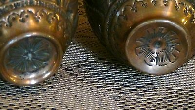 PAIR ANTIQUE 18c ISLAMIC PERSIAN COPPER ENGRAVED RELIEF VASES W/ A SEATED RULER