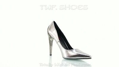 Demonia Volt Pewter Chrome Lightning Bolt High Heels Pointy Toe Pump Shoes 6-11