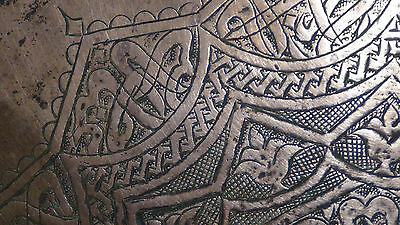 ANTIQUE 18c ARABIC ISLAMIC COPPER TRAY - 99 NAMES OF ALLAH IN ETCHED CALLIGRAPHY 9