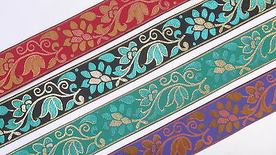 "02/"" 5.08 Cm wide By The Yard Jacquard Trim Woven Braid Sew Ribbon T928"