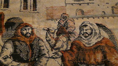 "Antique Persian Islamic Silk Rug Street Market Scene 49"" X 77"" 7"