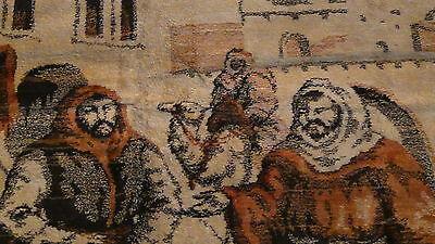 "Antique Persian Islamic Silk Rug Street Market Scene 49"" X 77"" 7"