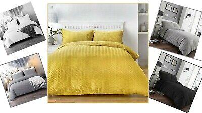 Seersucker Duvet Cover Bedding Set with Pillowcase Single Double King Super King 2