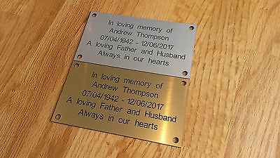 Personalised Gold or Silver Engraved Memorial Plaque 11cm x 6cm Free Postage 2