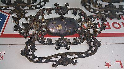 """5 Ornate Antique Vintage Large Cast Brass Dresser Cabinet Pulls 6"""" * 3"""" 5"""