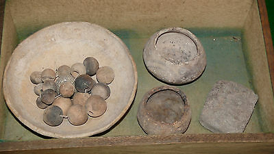 Pre Columbian Mexican Terra Cotta Pottery Beads Misc W/ Display Case 2