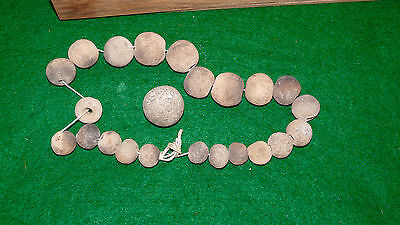 Pre Columbian Mexican Terra Cotta Pottery Beads Misc W/ Display Case 3