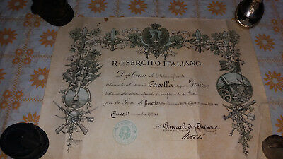 CUNEO-BRA-Diploma-FIORETTO-ESERCITO-AUTOGRAFO-GENERALE GROSSI-WW2-WORLD-ITALIA 3