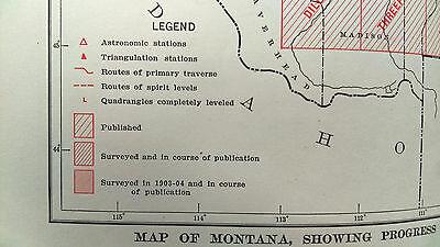 1904 USGS Survey Map Montana Missouri River Crow Indian Reservation 2