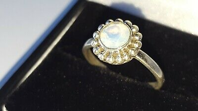 Opal Diamond 925 Silver Cluster ring  Sterling Silver Weight 2.5g Size P NEW