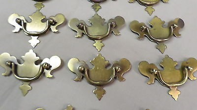"202D Vtg 14 Bat Wing Drawer Handles/Pulls 4=3 3/4"" Wide & 10=3 1/2"" Wide Brass 7"