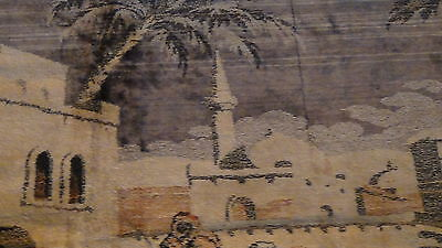 "Antique Persian Islamic Silk Rug Street Market Scene 49"" X 77"" 8"