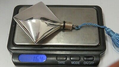 Vintage 800 Silver Perfume Bottle Square Shape With Blue Tread 6