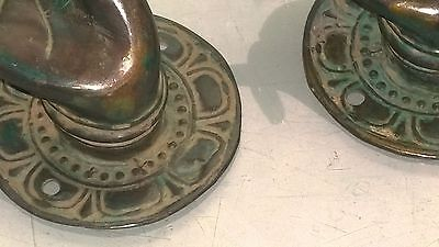 "2 Pull handle hands buddha brass antique green door age old style knob hook 3"" B 2"