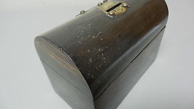 "19th C. ROSEWOOD ""ALMS"" COLLECTION BOX, BRASS TRIM & ORIGINAL KEY, c.1860-80 11"