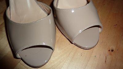 LK BENNETT UK 6 39 TAUPE Patent Beige Heels Peep Toe Courts Shoes LTD FAB RARE!! 7