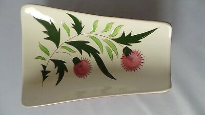 """STANGL THISTLE 11"""" Trapezoid Relish Tray Dish Vtg Mid-Century Pink Green PRETTY! 7"""